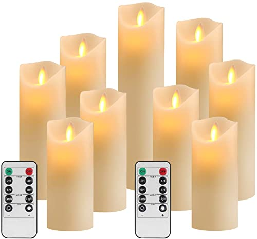 YIWER Flameless Candles Set of 9 Ivory Dripless Real Wax Pillars Include Realistic Dancing LED Flames and 10-Key Remote Control with 24-Hour Timer Function 400 Hours 9