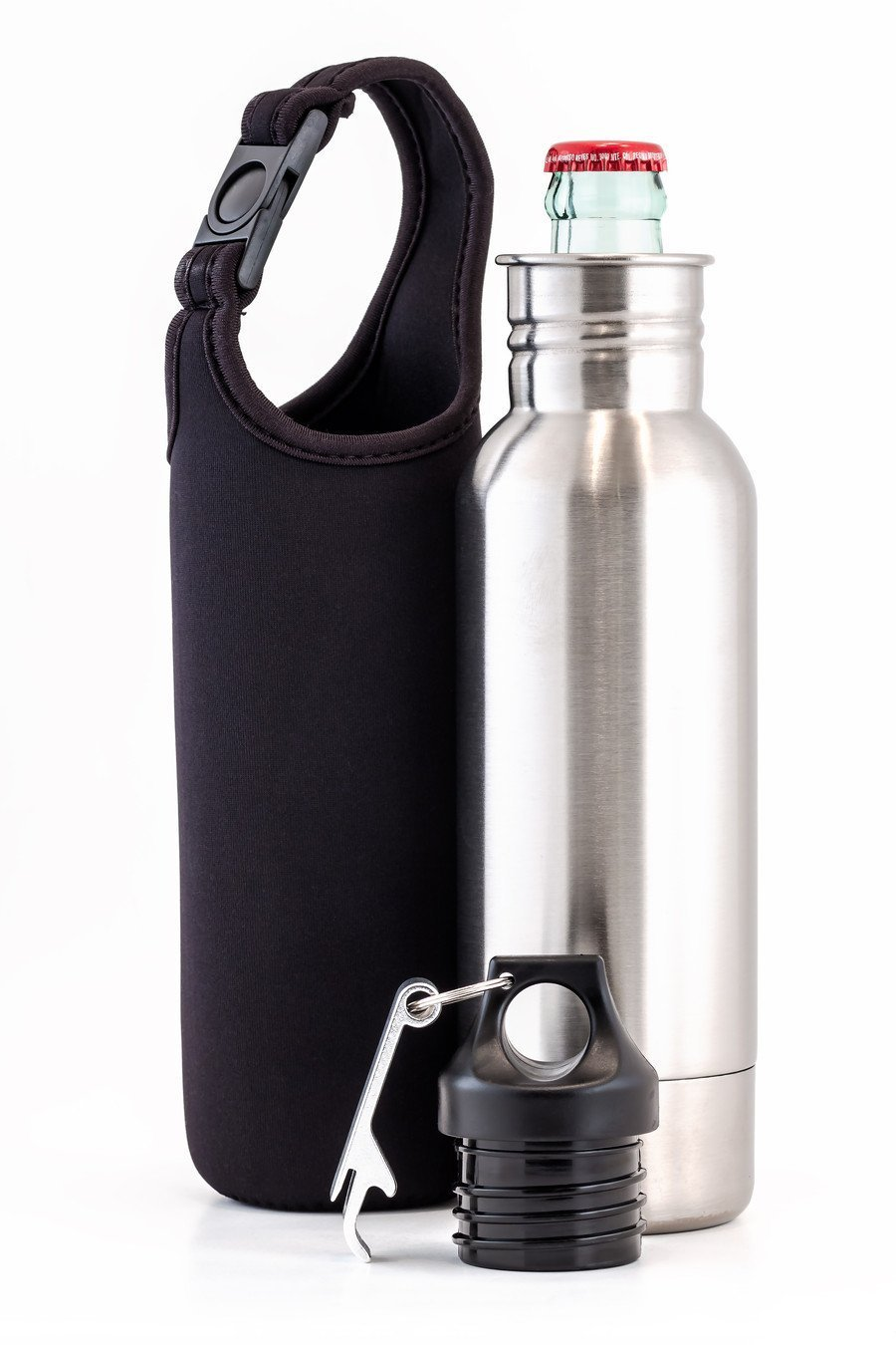 Zoyy Stainless Steel Beer Bottle Holder Insulator With Opener and Carrying Case