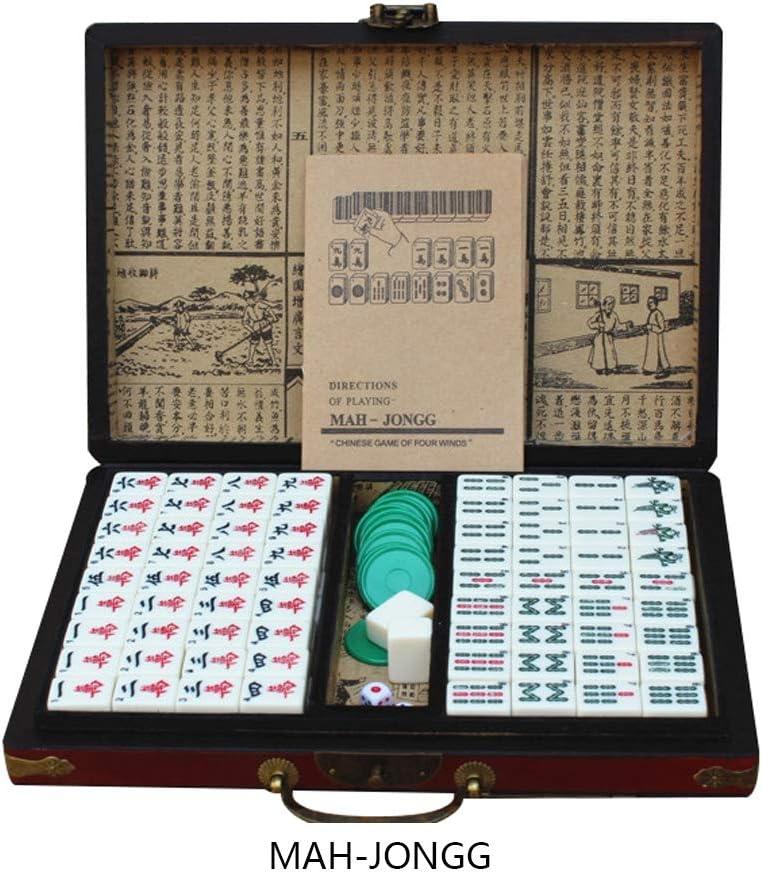 TUI Mahjong Chino fijó 144 Azulejos, portátiles mah-Jong, Juegos de Mesa Tradicionales Chinos de Viaje al Aire Libre, Caja de Embalaje de Madera, Apto para Cuatro Personas: Amazon.es: Hogar