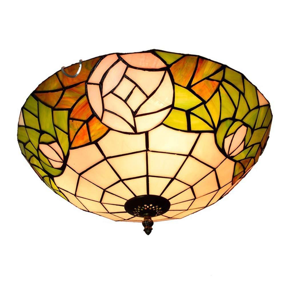 ティファニースタイルシーリングライト、16インチステンドグラスローズデザイン天井ランプ、ヨーロッパクリエイティブ通路通路バルコニー寝室飾 B07T2CN1HF