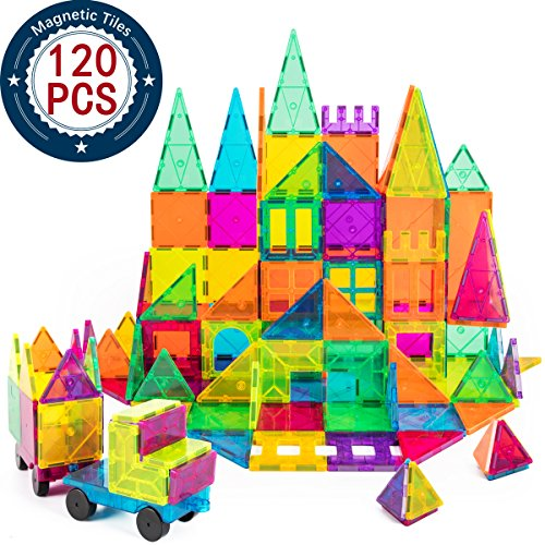 cossy Kids Magnet Toys Magnet Building Tiles, 120 Pcs 3D Magnetic Building Blocks Set, Educational Toys for Kids Children (Tiles Educational)