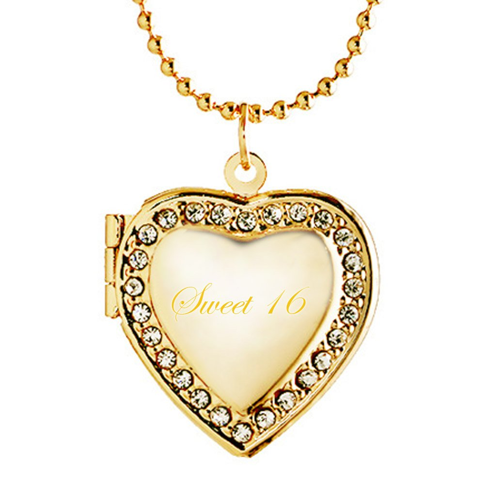 Latigerf Sweet 16 Heart Locket Necklace Engraving Pendant Charm Picture Photo for Girl