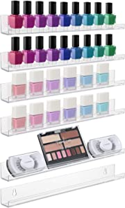 Sorbus Acrylic Wall Ledge Floating Shelf Rack Organizer, Invisible Display Style, for Books, Figurine, Nail Polish Picture Frame Storage, Wall Mounted Shelves for Home, Bathroom, Nail Salon, Spa