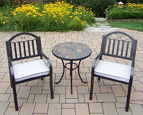 Oakland Living 3 Piece Stone Art Rochester Bistro Set with Table and Chairs, Black/Hammertone Brown