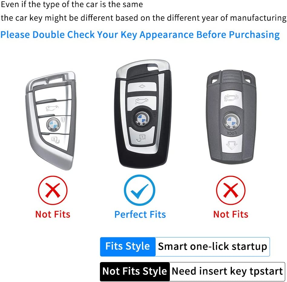 PATWAY for BMW Key Fob Cover,Key Fob Case for BMW 1 3 4 5 6 7 Series and BMW X3 X4 M5 M6 GT3 GT5 Smart Remote Premium Soft TPU BMW Key Cover
