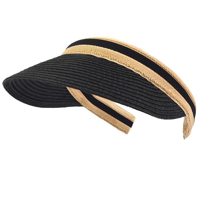 Women Men Straw Sports Tennis Golf Sun Visor Hats (Black) at Amazon ... 3273ec878ac