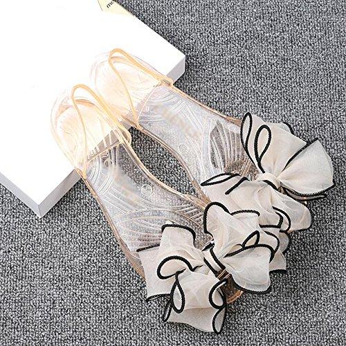 Eastlion Summer Flat Heel Fish Mouth Sandals Ladies Plastic Transparent Crystal Shoes S2 Orange 0gKYiBz1