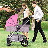 MD Group Baby Stroller 2-In-1 Foldable Aluminum Alloy Pink Oxford Switchable Kids Travel