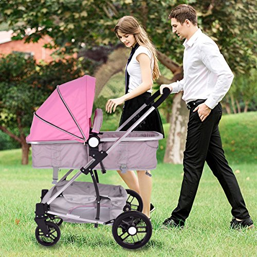MD Group Baby Stroller 2-In-1 Foldable Aluminum Alloy Pink Oxford Switchable Kids Travel by MD Group