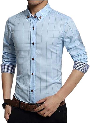 Manga Larga a Cuadros de Algodón Slim Fit Camisa para Hombres Botón Casual Abajo Camisa de Vestir (M-5XL)