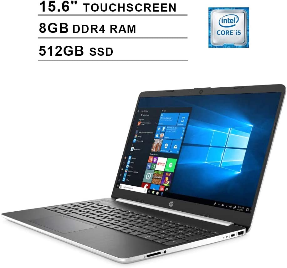 2020 HP Pavilion 15.6 Inch Touchscreen Laptop, Intel 4-Core i5-1035G1 up to 3.6GHz, Intel UHD Graphics, 8GB DDR4 RAM, 512GB SSD, HDMI, WiFi, Bluetooth, Webcam, Windows 10 Home