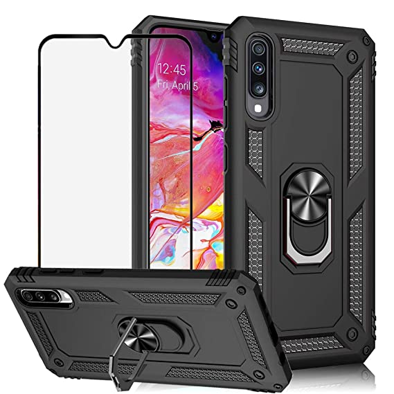 BestShare for Samsung Galaxy A70 Case & Tempered Glass Screen Protector, Rugged Hybrid Armor Anti-Scratch Shockproof Kickstand Cover Compatible ...