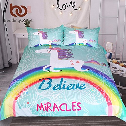 Ln 3 Piece Girls Kids Teal Blue Rainbow Unicorn Duvet Cover