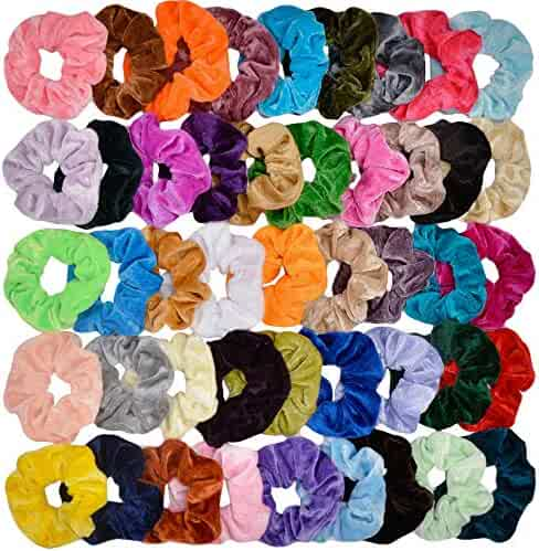 Cehomi 46Pcs Hair Scrunchies Velvet Elastic Hair Bands Scrunchy Bobbles Soft Hair Ties Ropes Ponytail Holder No hurt, Soft for Women or Girls Hair Accessories