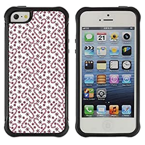 Suave TPU Caso Carcasa de Caucho Funda para Apple Iphone 5 / 5S / Maroon Pattern White Stars Winter / STRONG
