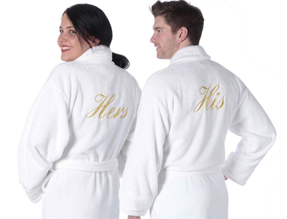 TowelsRus His & Hers Luxury Shawl Collar Bathrobe Set, Hers - Large ...