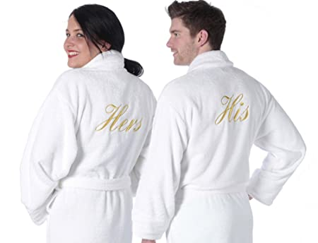 Towelsrus His & Hers Luxury Shawl Collar Bathrobe Set, Hers - Small ...