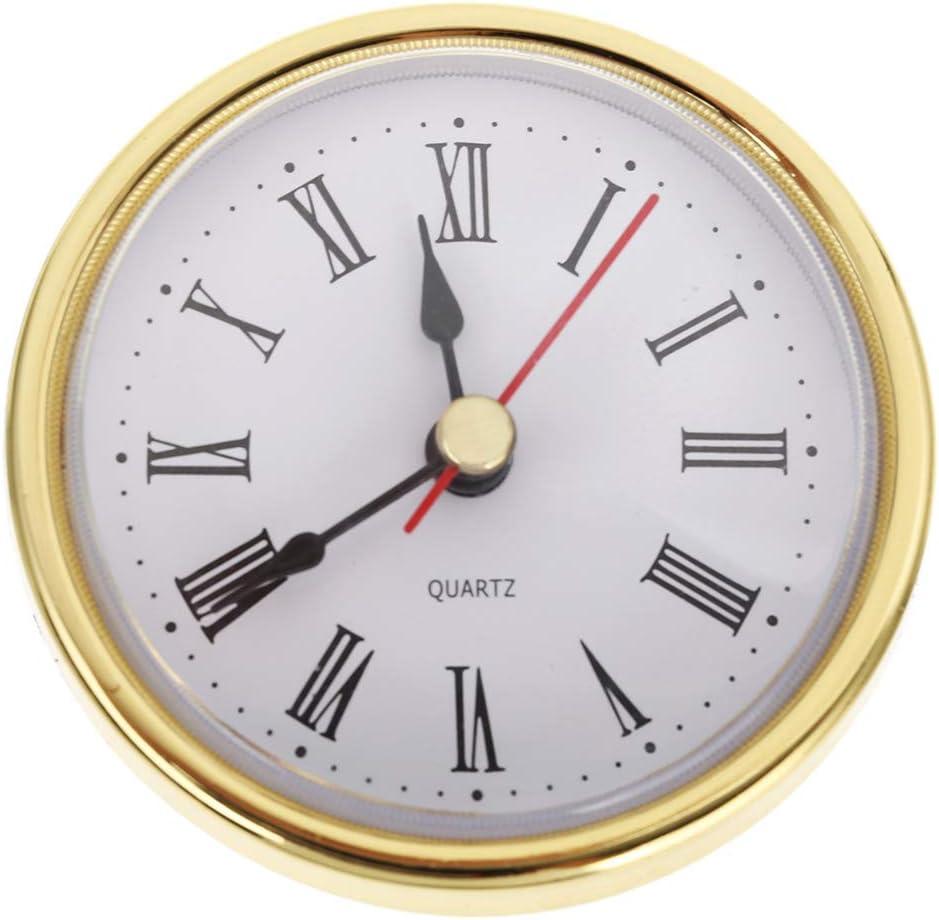 "65mm 2-1//2/"" Quartz Clock FIT-UP//Insert Roman Numeral White Face Trim Movement US"