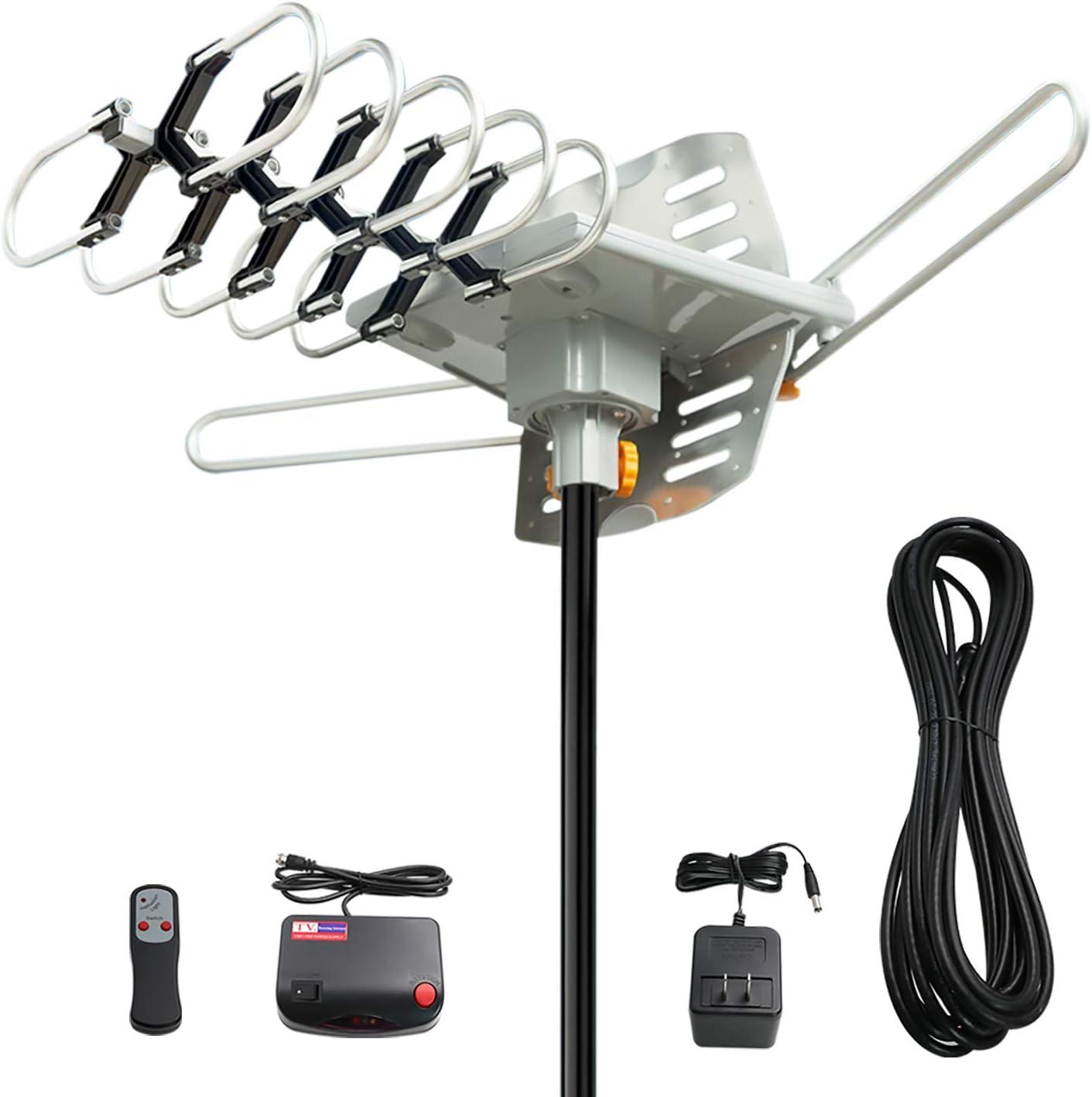 Antena de TV, Vansky exteriores amplificada HD Digital HDTV Antena 150 Mile motorizado gama 360 Degree rotación, mando a distancia inalámbrico de ...