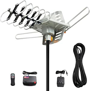 Vansky Outdoor 150 Mile Motorized 360 Degree Rotation OTA Amplified HD TV Antenna for 2 TVs UHF/VHF/1080P Channels Wireless Remote Control - 32.8' Coax Cable