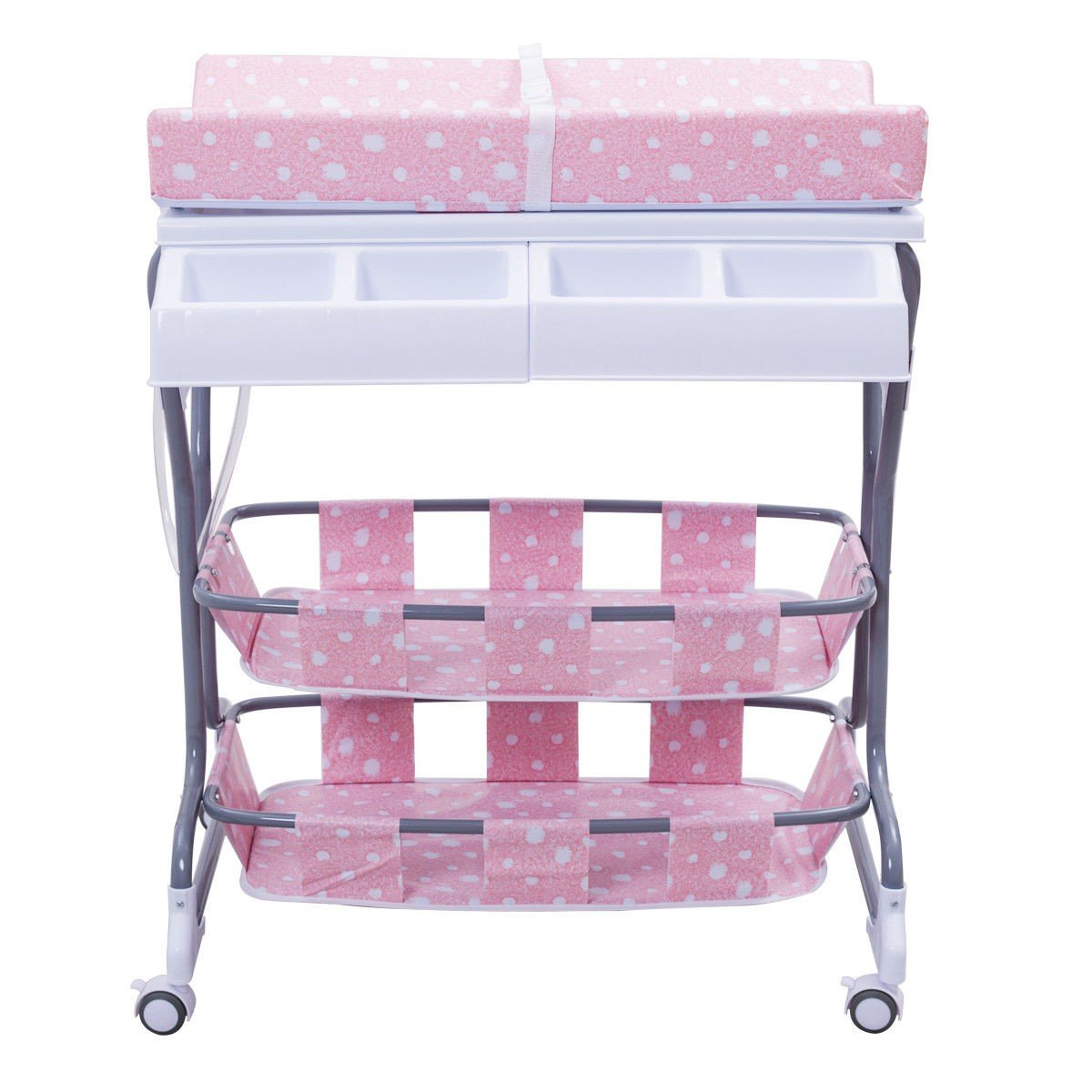 MD Group Baby Changing Table Pink Foam & Steel Frame 3-in-1 Pyramid Style Infant Nursery Storage