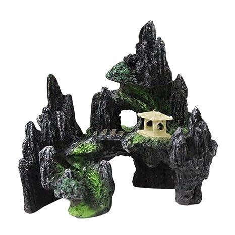 Plantas de Acuario para la Venta Taylorean Mountain View Acuario Rockery Hiding Cave Árbol Peces Decoración