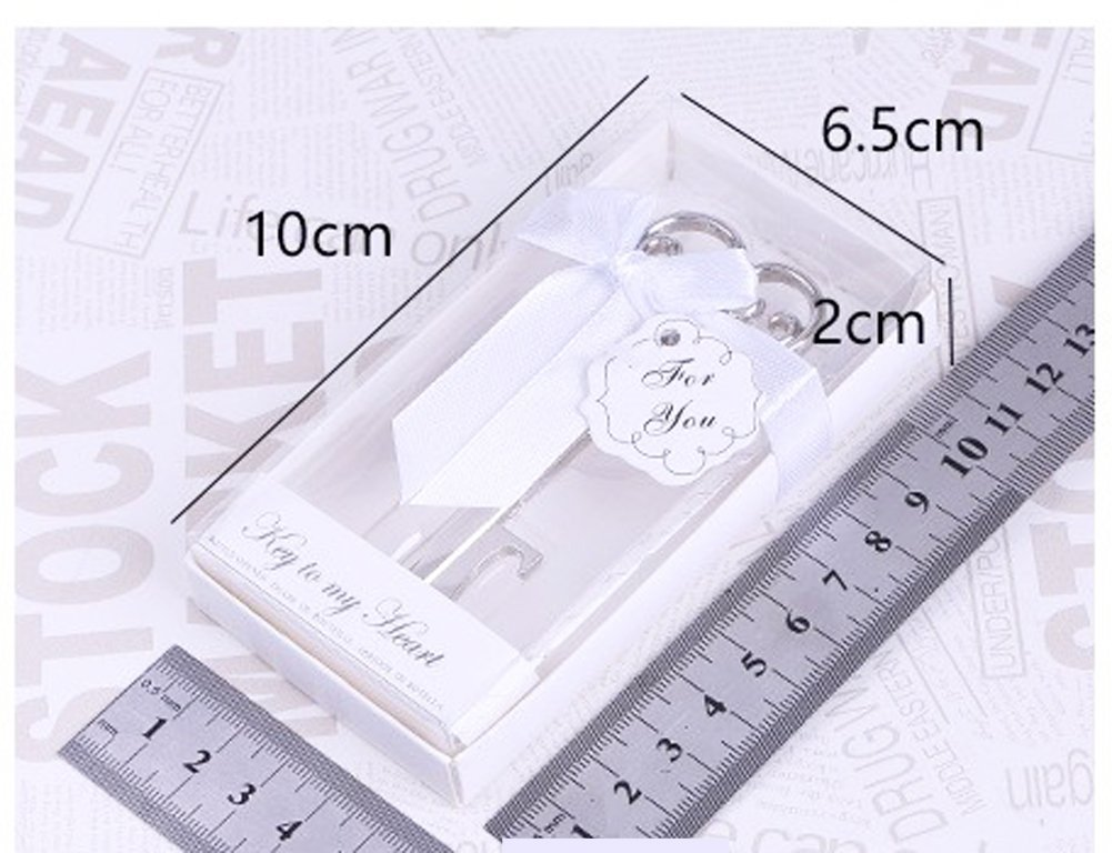 Youkwer 24 PCS Skeleton Silver Key Shaped Beer Bottle Cap Opener with Exquisite Packaging for Wedding Party Favors Gift Shiny Decorations,Key to My Heart Silver
