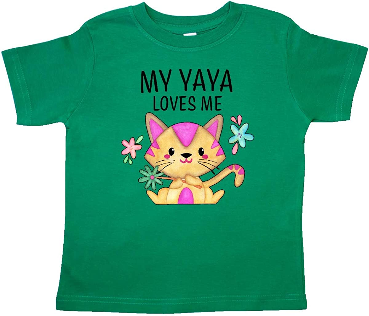 inktastic My Yaya Loves Me with Cute Kitten and Flowers Toddler T-Shirt