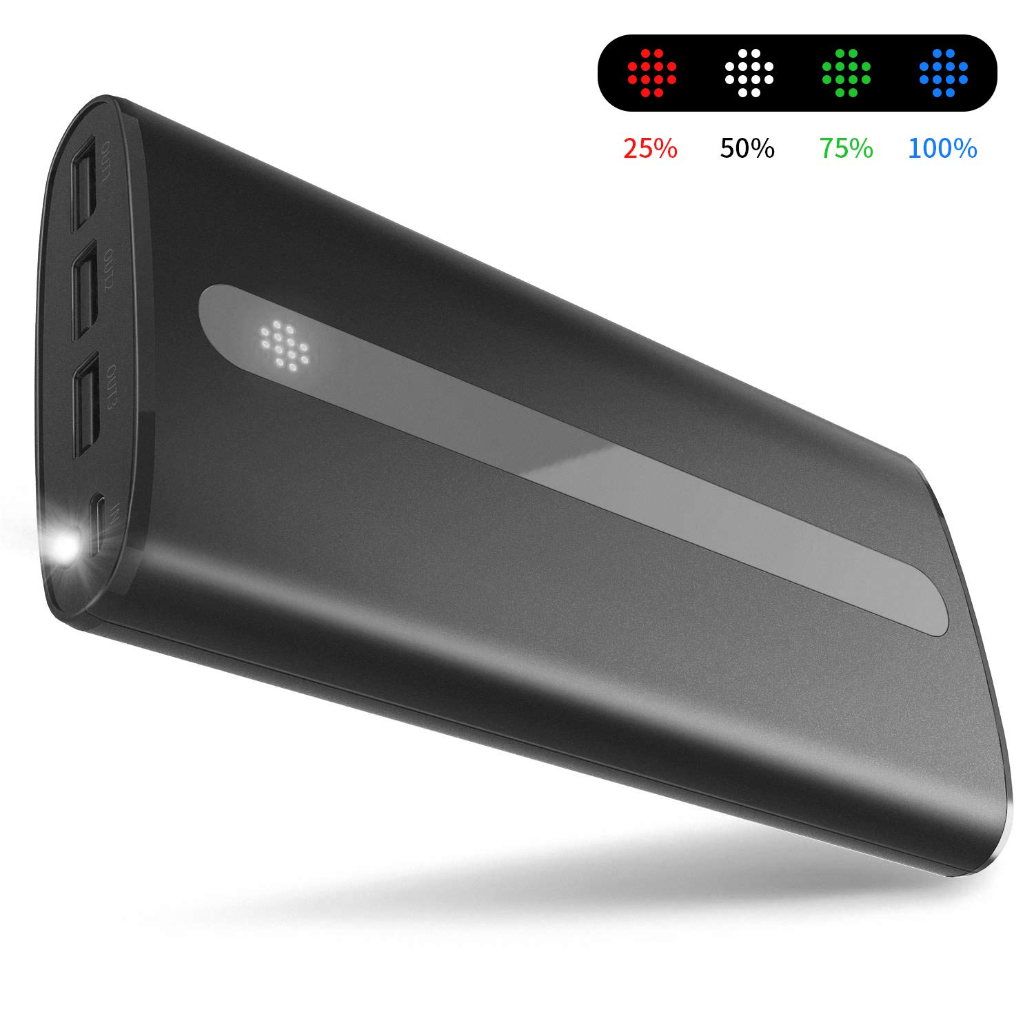 Sipu Power Bank mAh Portable Charger External Battery with 2 1A Input Port LED Lights and 3 Charging Ports for iPhone iPad Android Samsung Galaxy