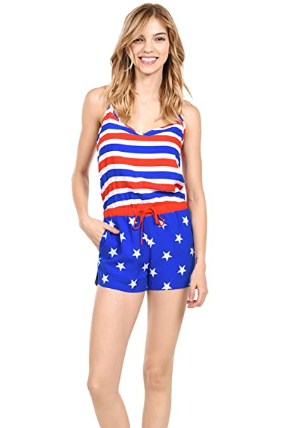 47f3390437ad Tipsy Elves Women s Patriotic American Flag Romper Dress at Amazon ...