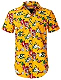 URBANCREWS Mens Hipster Hip Hop Tiger Snake Graphic Button Down Shirt Yellow, L