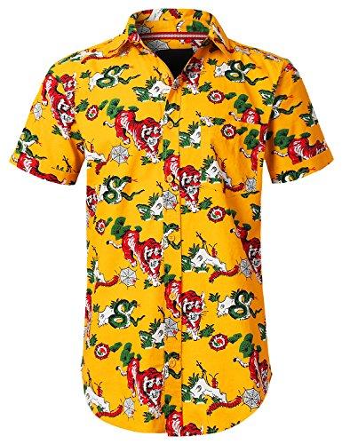URBANCREWS Mens Hipster Hip Hop Tiger Snake Graphic Button Down Shirt Yellow, M