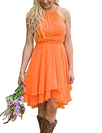 156cea3fe7f Faxpox Women s Knee Length Country Bridesmaid Dresses Western Wedding Guest  Dresses Short Maid of Honor Gown Dark Orange US10 at Amazon Women s Clothing  ...