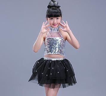 b574bd337ff5 Children's dance costumes children's sequins jazz costumes girls modern  dance clothing red / blue / black (6 sizes) , 110cm , black: Amazon.co.uk:  Sports & ...