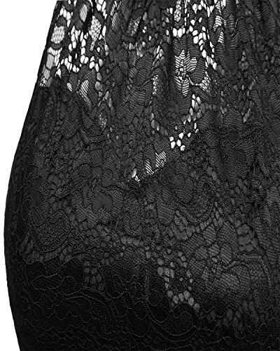 Noir Chic Vintage En Mousseline Dentelle Femme De Robe Mi Misshow Cocktail Sexy Avec Style Longue CxoderB