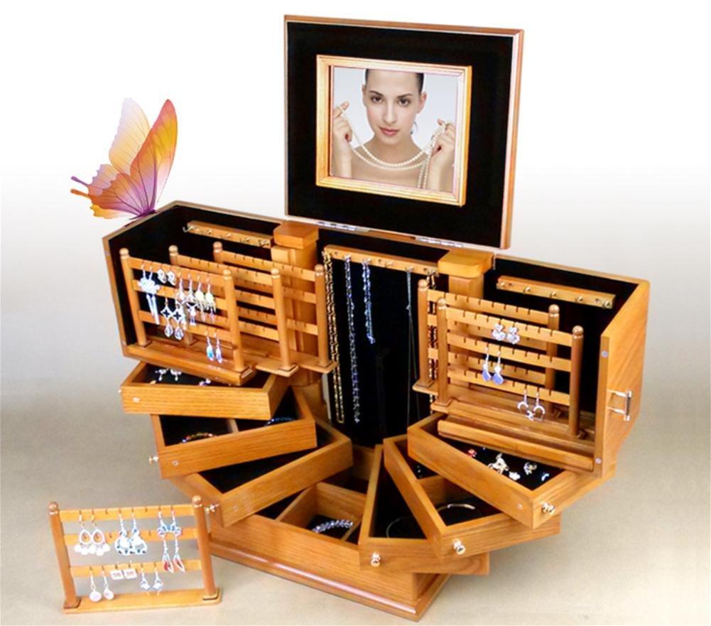 LUCKYYAN Handmade Creative Multi-layer Jewelry Box Solid Wood Princess Multi-functional Large Jewelry Storage Box Wedding Birthday Gift , light brown