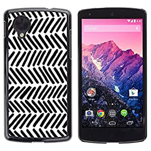 Hard Protector Case Cover Slim Back Shell for LG Google Nexus 5 D820 D821 /Stripes White Black Lines Hand/ STRONG