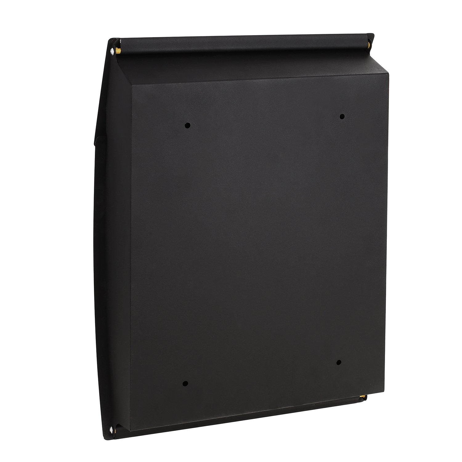 Homdox Wall Mounted Mail Letter Post Box A4 Steel Mailbox with Newspaper Holder and Name Plate Outside Black Lockable Waterproof