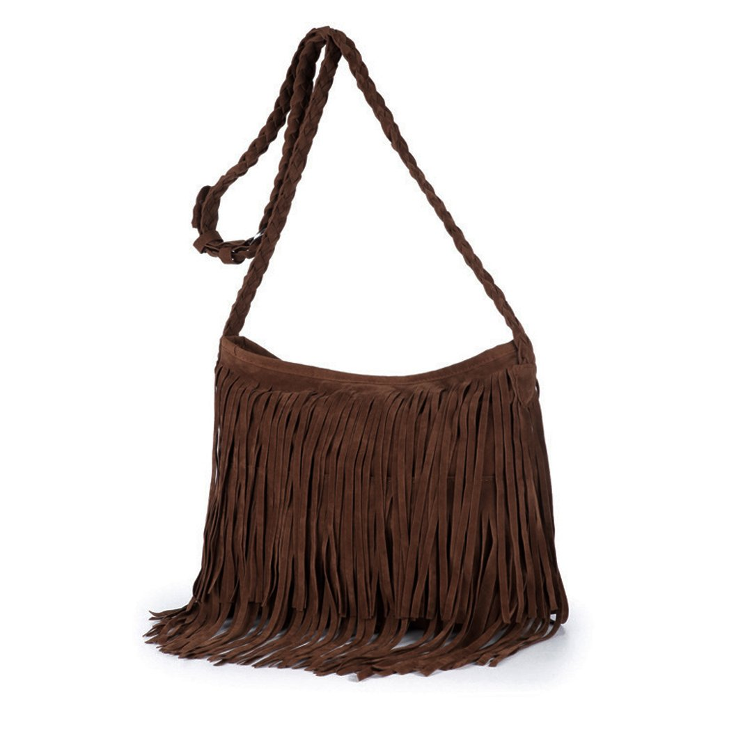 Heidi Hobo Hippie Fringe Tassel Faux Suede Shoulder Messenger Cross Body Womens Sling Bag (Coffee)
