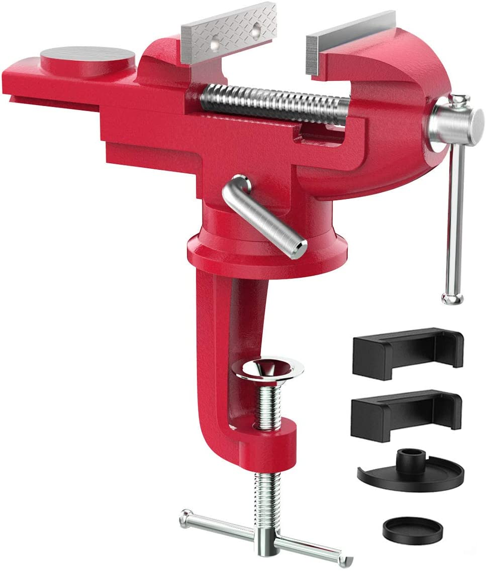 Housolution Universal Table Vise 3 Inch, 360°Swivel Base Bench Clamp Home Vise Clamp-On Vise Repair Tool Portable Work Bench Vise for Woodworking, Cutting Conduit, Drilling, Metalworking - Red