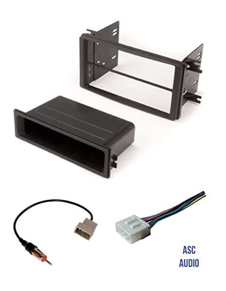 premium asc car stereo radio install dash kit, wire harness, and antenna  adapter for