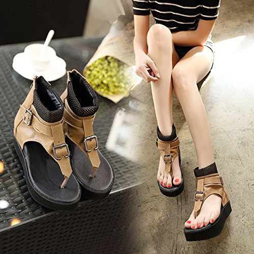 SHOESHAOGE La Ayuda De Alto Espesor Toe Sandalias High-Heel Clip Que Los Zapatos De Mujer Casual Retro Pendiente ,Ue37 Con Zapatos. EU37