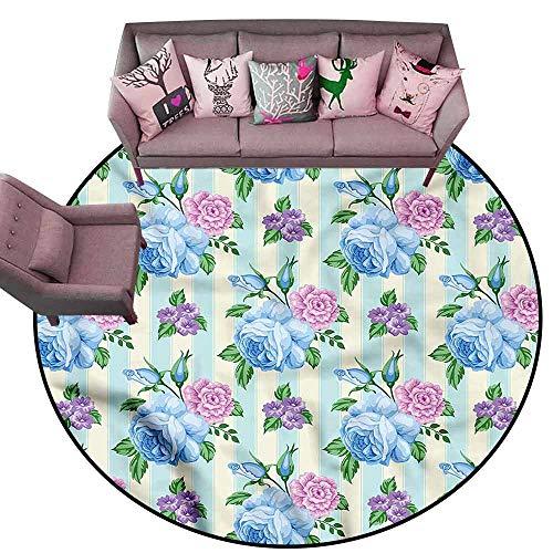 (Designed Kitchen Bathroom Floor Mat Colorful Shabby Chic,Spring Bridal Bouquets Diameter 72