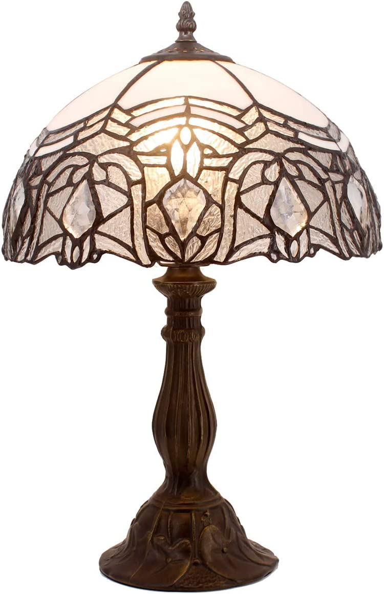 Tiffany Lamp Stained Galss Style Table Desk Lamps with Crystal Reading Light 18 Inch Tall Antique Beside Desk for Living Room Bedroom Kids Room Coffee Table Bookcase S508W WERFACTORY