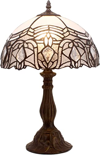 Tiffany Lamp Stained Galss Crystal Style Table Desk Reading Light W12H18 Inch Tall S508W WERFACTORY LAMPS Parent Friend Kid Lover Living Room Bedroom Study Office Coffee Bar Bedside Desk Antique Gift