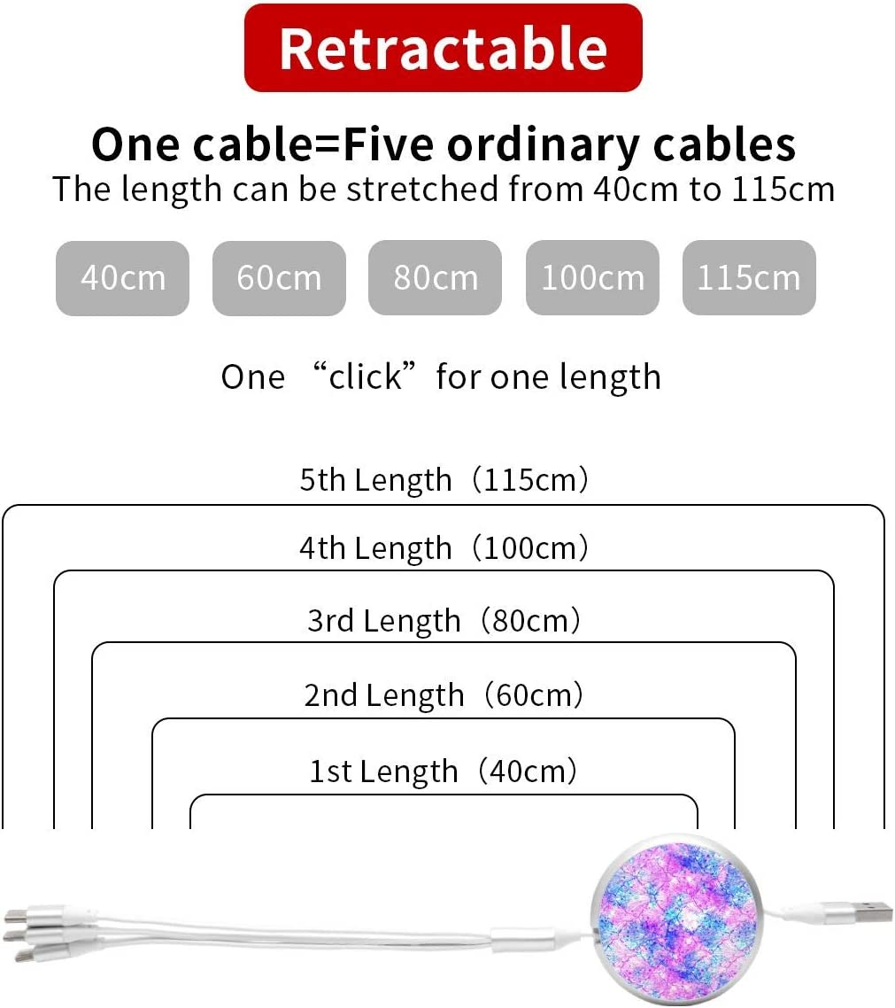 Bright Mermaid Fish Scale 3 in 1 USB Multi Function Charging Cable Data Transmission USB Cable for Mobile Phones and Tablets Compatible with Various Models with Storage Bag