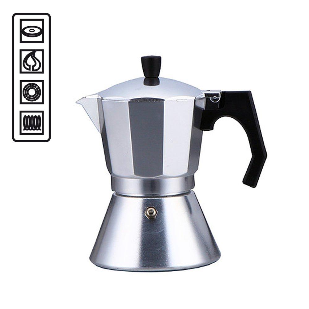Cafetera de 6 tazas específica para placas de inducción, con fondo de acero compatible con cocinas de todo tipo: inducción, vitrocerámica, eléctricas ...