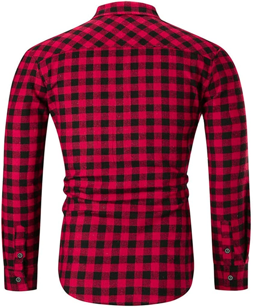 LEXUPA Mens t-shirts fashion Mens New Fashion Chequered Hat Long Sleeve Shirt Fashion Long Sleeve Blouse