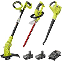 Ryobi ONE+ 18-Volt Lithium-Ion Cordless Hedge Trimmer and Blower with Combo Kit
