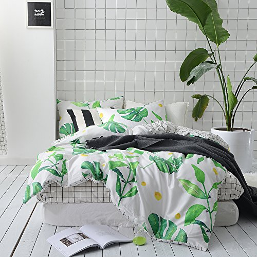 Leaf Design Set (BuLuTu Palm Tree Leaves Print Cotton Twin Kids Bedding Cover Sets For Boys Girls Reversible Nature Lattice Duvet Cover Sets White Twin Comforter Cover Zipper Closure With Ties,NO COMFORTER)